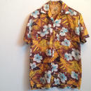 60's BLUE STONE COTTON HAWAIIAN SHIRT