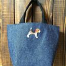 ビーグル刺繍デニム生地ミニトートバッグお散歩バッグ