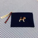 ビーグル刺繍10号帆布フラットポーチ ネイビー