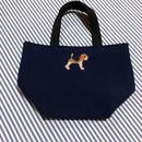 ビーグル刺繍10号帆布お散歩トートバッグ ネイビー