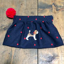 ビーグル刺繍ウールりんご刺繍生地ギャザーポーチ