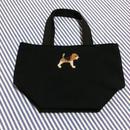 ビーグル刺繍10号帆布お散歩トートバッグ 黒