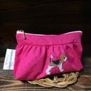 ピンクドットミニオン ギャザーポーチ ビーグル刺繍