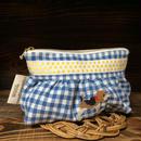 水色ギンガム黄色リボン付ギャザーポーチ ビーグル刺繍