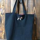 ビーグル刺繍大サイズ10号帆布トートバッグ黒