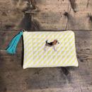 ビーグル刺繍黄色ストライプキルティング生地フラットポーチ