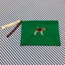 ビーグル刺繍10号帆布フラットポーチ グリーン