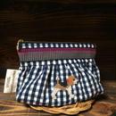 ネイビーギンガム リボン付きギャザーポーチ ビーグル刺繍