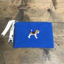 ビーグル刺繍綿麻10号帆布フラットポーチ ブルーx花柄