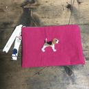 ビーグル刺繍綿麻10号帆布フラットポーチ ピンクx花柄