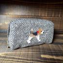 ビーグル刺繍ウールヘリンボーン生地1匹