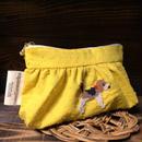 イエロー ドットミニオン ギャザーポーチ ビーグル刺繍