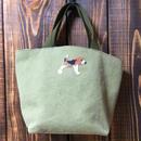 ビーグル刺繍ビンテージウォッシュカーキとバナナ柄お散歩バッグ