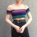 Rainbow Crop Off Shoulder