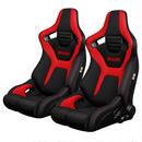 2脚【Braum Racing  セミバケットシート Elite-R ブラック&レッド】