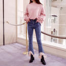 pink feather jeans
