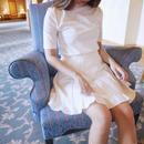 knit pleats mini / white