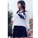 セーラー服長袖 コスチューム 白×紺 レディース MorLサイズ
