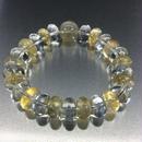 ゴールドルチルとシトリンボタン型と水晶ボタン型のブレスレット
