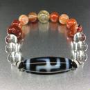 卍天珠とゴールドルチルとサードオニクスと赤瑪瑙と水晶のブレスレット