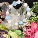 アクアマリンとムーンストーンと水晶 ブレス(女性用)