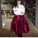 彩ある2018年!輝くドレススカート【エンジ】