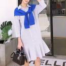 【1着でオシャレ完成!】カーディガンを羽織っているかのようなシャツワンピース★ユヒャンおすすめ★
