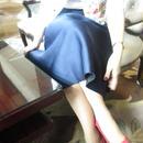 シルクタッチの光沢フレアスカート【ネイビー】