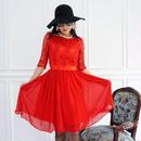 【限定数発売!】薔薇色レースドレスワンピース【パーティーに、結婚式に推薦!】
