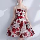 花柄 刺繍パーティードレス 結婚式 大人女子 Aライン フレアワンピース