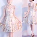 ドレス チャイナドレス風 刺繍 フレアワンピース シースルー