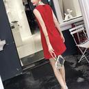 レッド シンプルAラインドレス 無地ワンピース 全二カラー