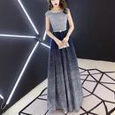 ロング丈ドレス スパンコール エレガント Aライン パーティー 披露宴