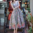 新作♡刺繍 シースルー ロングワンピース 花柄 ドレス