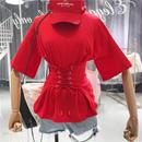 新作 期間限定価格 お得○ Tシャツ レースアップ 半袖 可愛い 三色