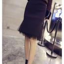 チュール 異素材 ニットスカート タイト 可愛い