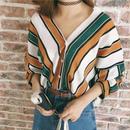 新作♡大人のゆったりライン ストライプ柄 薄手シフォンシャツ