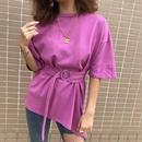 ベルトセット 不規則 Tシャツ 半袖 カジュアル ゆったり 5色