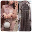 華やか スパンコール 二点セットアップ ロング丈ワンピース ドレス 三色