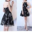 刺繍 ドレス 結婚式 花柄 ホルターネック aライン ワンピース