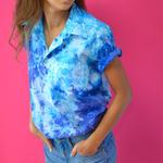 ビンテージ染めシャツ ブルー