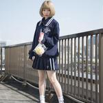 【4/22より通販開始】セーラートップス+プリーツスカートセットアップ/ネイビー