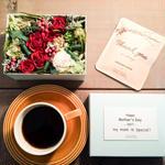 母の日期間限定[Flower & Coffee SET]Flower BoxM(RED)+メッセージドリップバック2種5個セット