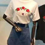 新作★グッチ風 半袖Tシャツ 男女兼用 可愛い ブラックホワイト