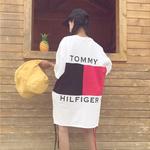 2017夏新作 トミー好きに ロングTシャツ トミーヒルフィガー半袖 ホワイト シンプル 可愛い tommyミニワンピ