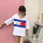 トミーTシャツ 超人気 可愛いTシャツ レッドホワイト選択 レディース