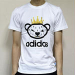 adidas新作 アディダスTシャツ半袖 新品 男女兼用 可愛い 動物柄 ホワイトとブラック選択