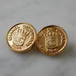 ヴィンテージ CHANEL シャネル ココマーク 16mm コインデザイン ゴールドボタン イヤリングパーツのおまけ付(c-139)