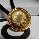 ヴィンテージ CHANEL シャネル ボタン ココマーク 20mm ゴールドデザイン ヘアゴムのおまけ付(c-167)
