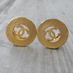 正規品 ヴィンテージ CHANEL シャネル ココマーク 25mm イヤリング ラウンドゴールド NO20(c-220)